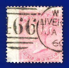 1857 SG66 4d Rose-Carmine J51(1) Fair Used Liverpool CV-FU £150 azva