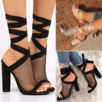 Women High Block Heel Lace Up Sandals Summer Mesh Peep Toe Party Pumps Shoe Size