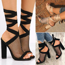 Women High Block Heels Ankle Strappy Peep Toe Sandals Party Slingbacks Shoes New