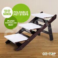 3 Steps Portable Foldable Doggy Cat Pet Stairs Ramp Ladder W/ Sheepskin-like Mat
