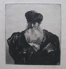 "T. CAMPBELL ETCHING AFTER REMBRANDT ""MAN IN A CLOAK AND FUR CAP"" C 1970"