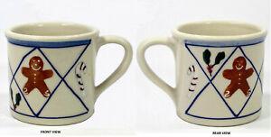 Hartstone Pottery CHRISTMAS TRADITIONS - LATTICE 14oz Mug Blue Gingerbread Man