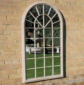 Arch Garden Mirror Industrial Retro Rustic Cream Finish 32 Panel Metal Frame
