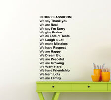 Classroom Rules Wall Decal Education Poster Gift Vinyl Sticker School Decor 45me