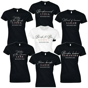 Elegant Hen Party T-Shirts Selection - Custom Bride Personalised Tops Rose Gold