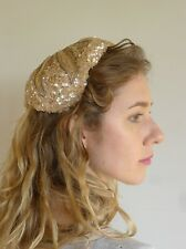 Vintage true 1940s beige sequin beaded cocktail hat cap excellent