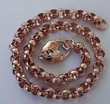 L05 Genuine 9ct 9K Rose Gold Day & Night Belcher PADLOCK Heart Necklace 45cm