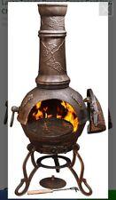 More details for gardeco cast iron  large chimenea : bronze : grapes leaves