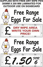 Free range eggs for sale sign plaque rigid 300mm x 200mm with free dry wipe pen