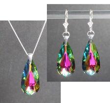 Silber 925 Schmuck-Set mit Swarovski® Kristallen Tropfen pink blau grün in Box