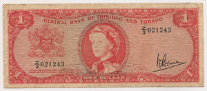 1964 CentraL Bank of Trinidad and Tobago ~ $1 Bank Note ~J.E.Bruce