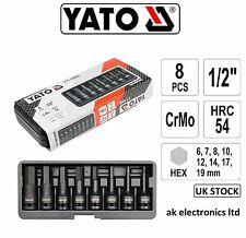 "Yato Professional 8pcs 1/2""HEX Impact Bit Socket Set Case 6,7,8,10,12,14,17,19mm"