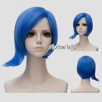 30cm Blue Short Straight Layered Unisex Inside Out Sadness Anime Cosplay Wig+Cap