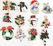 Set of 12 Christmas Pins Brooch Lot/ Holiday Brooch / Christmas Tree/ Santa/Gift