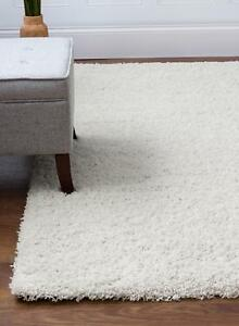 Super Area Rugs Contemporary Modern Plush Shag Solid Area Rug in White