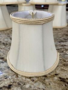 "7 Cream  Mini Chandelier Lamp Shade Clip On Bell Softback 4""x5""x3"" on top."