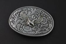 Grigio ovale Aquila Motivo Floreale Cintura Fibbia in Metallo American Western Paese