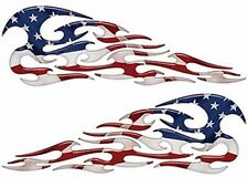 "Tribal Flame Decals American Flag Motorcycle Tank Saddle Bag 13"" Reflective Fl01"