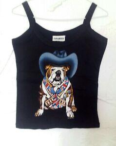 Vest Top Bulldog In Cowboy Hat Size 32 100% Cotton by Zip-it London Retro brand