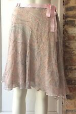 MARC CAIN PASTEL PAISLEY SILK SKIRT SIZE 4 FITS 10/12