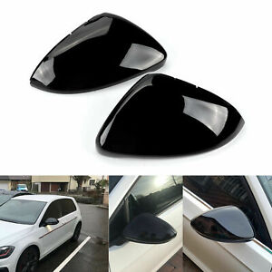 Full Mirror Caps GLOSS BLACK Covers Volkswagen VW Golf MK7 Mk7.5 TSI TDI GTI R