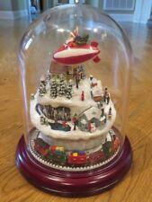 Roman Inc. Musical Dome Christmas Scene Santa Flying in Blimp over Village/Train