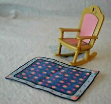 Loving Family Dollhouse Rocking Chair and Rug Pink and blue