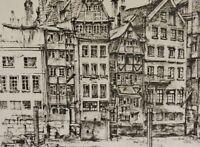 unleserlich signiert - Lithographie 1973: HAMBURG NICOLAI-FLEET / Nikolaifleet