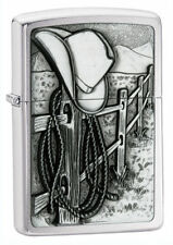 Zippo 24879, Resting Cowboy, Emblem, Brushed Chrome Finish Lighter, Full Size