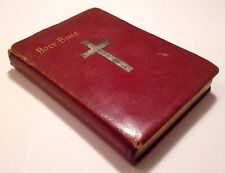 Holy Bible, King James Version, c1914, Silver Cross, Atlas, Gold Gild Edges, Red