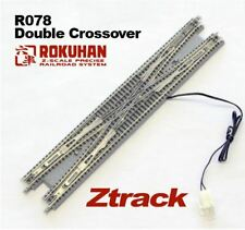 Rokuhan Z Scale Double Crossover Track, Wood Ties R078