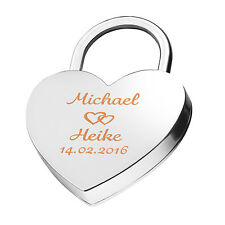 Heart Love Lock Engraved Silver Free Laser Engraving on one side