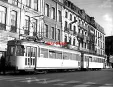 PHOTO  BELGIUM TRAMS 1959 MONS STATION SNCV S TRAM  NO 10281/19398  ON ROUTE 90