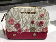 Michael Kors Women's EMMY Travel Pouch Make up Case Bag Floral Flower  Vanilla
