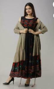 Women Flared Long Kurta Kurti Designer Shrug Partywear Gown Bollywood Style Suit