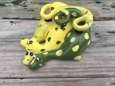 Vtg Handmade Ceramic Grn Yellow Spotted Dragon Dinosaur Toothbrush Holder Signed