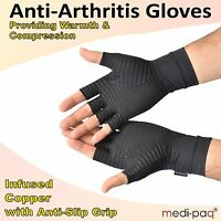 Medipaq® Anti ARTHRITIS Fingerless COPPER Compression Therapy Gloves Finger Pain