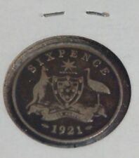 1921 Australia Six Pence Silver Coin Free US Shipping