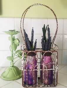 OOAK WIRE CHIPPY BASKET WITH ALTERED BOTTLES OF FAUX FLOWERS