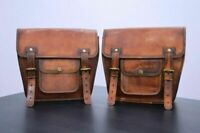 Leather Side Saddle 1 Pair Panniers Bag New Motorcycle Side Pouch Brown Camel