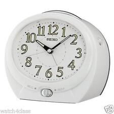 Seiko Bedside Beep Alarm Clock QHK012W White Dial Quiet Sweep Light +FREE SHIP
