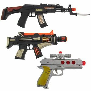 Kinder Spielzeug Pistole Waffe Gewehr Licht und Sound Fasching Kostüm Zubehör