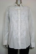 Charter Club Women's Bright White Floral Stitch Button Down Shirt L