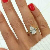 2.50 Ct Pear Cut VVS1/D Diamond Engagement Sterling Silver Ring