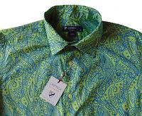 Men's DANIEL CREMIEUX Green Blue Paisley Cotton Shirt L Large NWT NEW Nice!