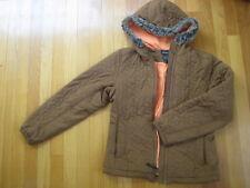 Athleta brown PUFFER COAT quilted gray faux fur orange hoodie downkind jacket XS
