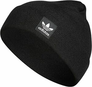 adidas Originals Grove Beanie Cap Hat Trefoil Logo Black White Men's Women's