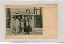 Chinese Male & Female Prisoners in the Cangue Post Card Rare