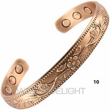 Ladies Magnetic Bracelet Bangle Copper Floral Pattern Arthritis Pain Aid Squeeze