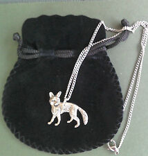 Pewter pendant, fox design, made in Cornwall, 17.5 surgical steel chain